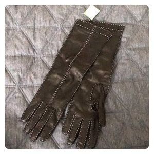 Elbow length leather Coach gloves